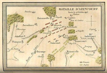 carte bataille d'Azincourt